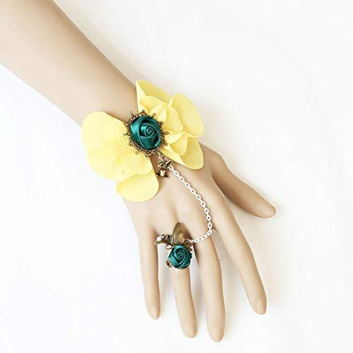 Kostüm Tourist Halloween - MLSJM Frauen Armband, Gothic Vintage Kreative Rose Blume Armband Armbänder Mit Ring, Einstellbare Kette 6 + 2,7 Zoll, Tourist Strand Schmuck