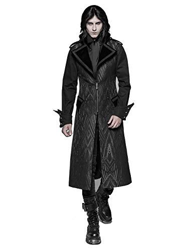 Muster Herren Kostüm Steampunk - Punk Rave Herren Schwarz Gothic Steampunk Muster Lange Weste Jacke XL
