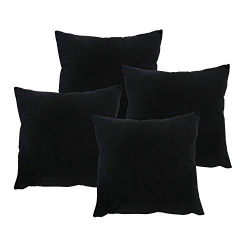 Deconovo 4 Housses de Coussins en Velours Super Doux avec Fermeture Elair pour Chaise Canapé 45x45 cm Noir