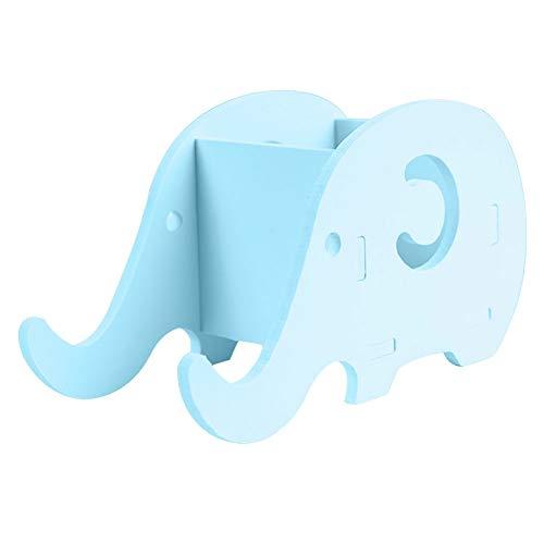 DEJVA Caja de Almacenamiento Papelería Oficina Escritorio Práctico Caja de Almacenamiento Organizador Multifuncional Soporte de Pluma de Madera Forma de Elefante Soporte para teléfono Hogar, Verde