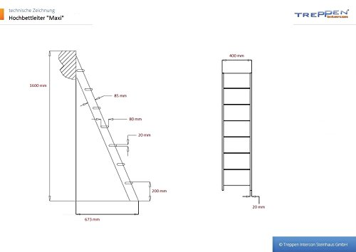 Profigold Bunk Bed Ladder Large with 7�Levels 160�cm High in 3�Different Colours