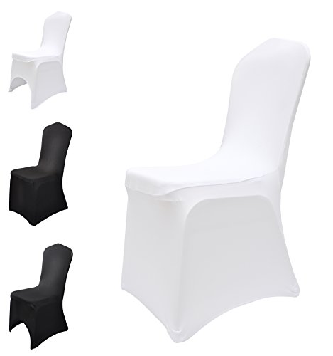 White Chair Covers Spandex / Lycra Wedding Banquet Party Anniversary Dining Elasticated Flat & Arched Front