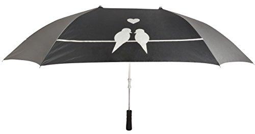 Le Monde du Parapluie - Imprimé Oiseaux - Parapluie Canne pour 2 Personnes, 87 cm, Noir