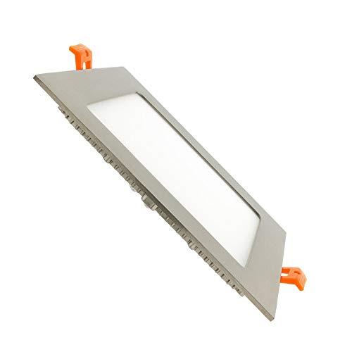 LED Einbaustrahler Panel Strahler Einbauspot 12 Watt quadratisch 1717SP Alu gebürstet - neutralweiß - 4100 Kelvin - SMD LED, 220 Volt, Schutzklasse IP20, Abstrahlwinkel 120 Grad
