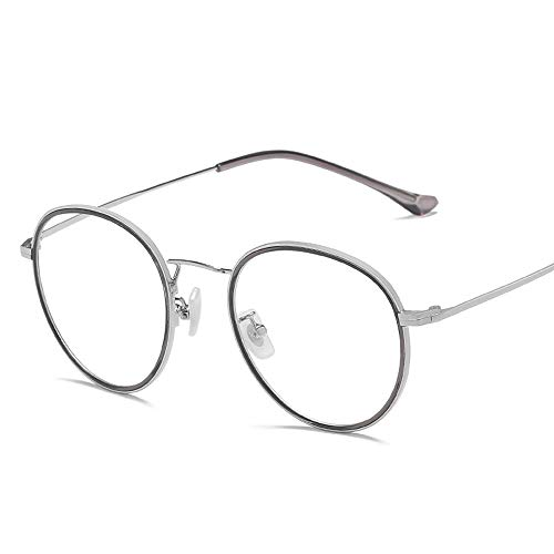 Gläser Klare linse Plain gläser Vintage Retro Mode eyewaer für männer Frauen Unisex spectaclesn Brillen Rahmen Brillen (Color : Silber, Size : Kostenlos)