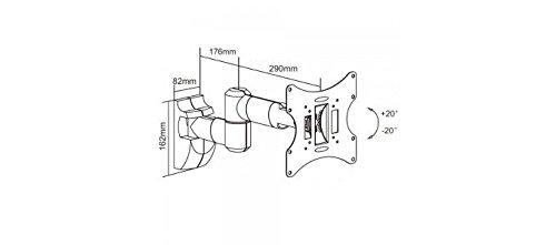 """PureMounts LM-TS32EB Wandhalterung für TV Geräte mit 58-107cm (23-42\""""), VESA 200x200, neigbar: +/-20°, schwenkbar: +/-90°, Wandabstand: 100-470mm, Traglast max:  30kg, schwarz"""