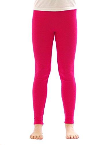 (Kinder Mädchen Thermo Leggings Fleece Hose lang leggins aus Baumwolle pink 128)