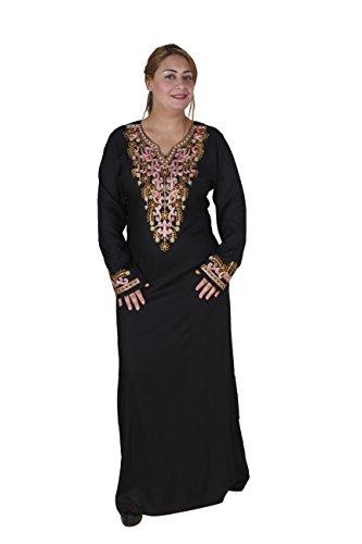Damen-Kaftan Hauskleid aus 1001 Nacht, 100 % Viskose (44-46 (L), Schwarz)