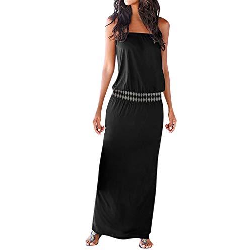 Damen Kleid Für Damen Elegant Somerl Damen Kleider Sexy Bandeau Off Schulter Ärmelloses Sommer Maxi Langes Kleid Kleidung Für Damen(Schwarz,XXL)