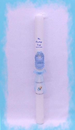 Vela (CIRIO) para Bautizo DE Cera Blanca. Medida 3 x 40CM Decorada con Mini Babero DE Tela Azul, Chupete Adhesivo Y Lazo Organza (Personalizada)