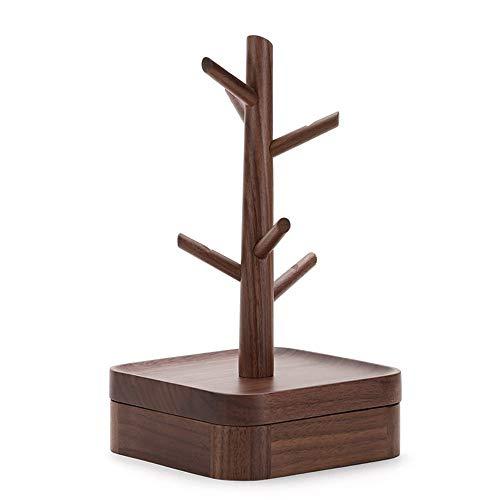 NNDQ Holz braun 4-Tier Schmuckständer, Schmuck Baumständer Veranstalter, Holzarmband Uhr Display Stand, gutes Geschenk für Mädchen