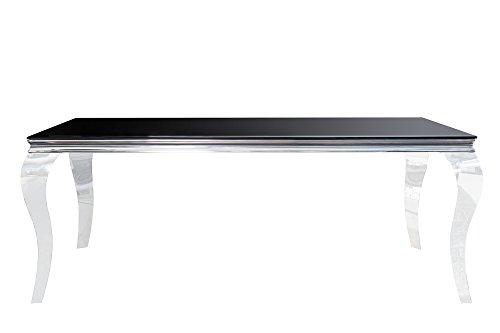 DuNord Design Esstisch Glastisch schwarz silber 180cm LOUIS Barock Facettenschliff Esszimmer