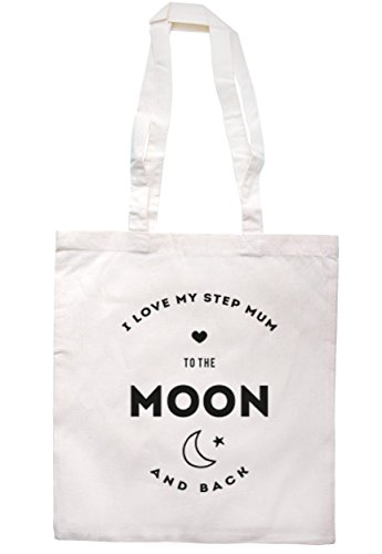 Breadandbutterthreads i Love My step MUM to the moon and back Tote 37.5 cm x 42 cm con manici lunghi Natural