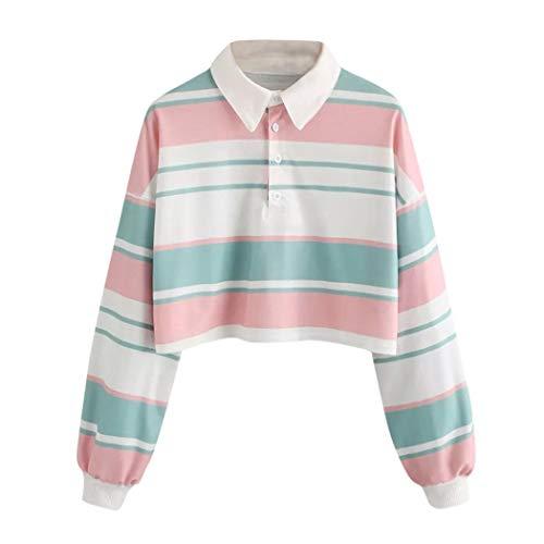 ESAILQ Damen Lässige Drop Schulter gestreifte Crop Top Bluse(L,Mehrfarbig)