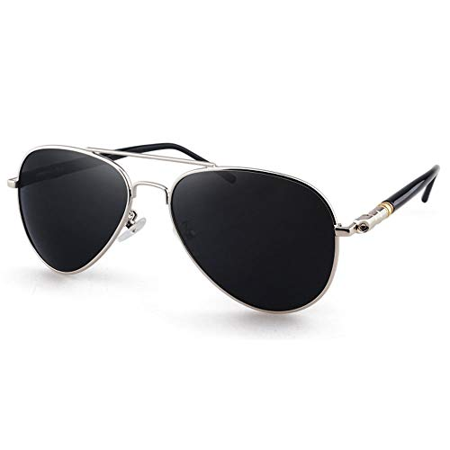 Wangwen HD Nylon Aviator Sonnenbrille Für Männer, Nicht Polarisiert, Herren-Sonnenbrille Im Militärstil, Nicht Polarisiert, 57 Mm, UV400 (Color : Silver Frame Gray Piece)