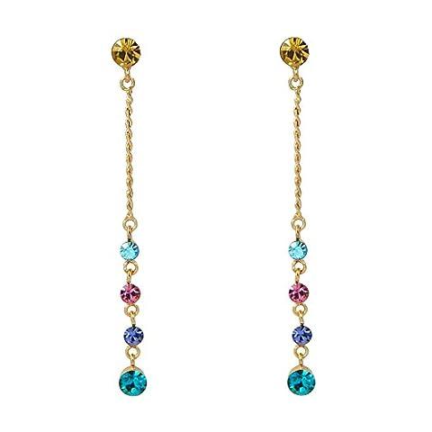 18K Plaqué or rose Boucles d'oreilles pendantes en cristal multicolore de haute qualité