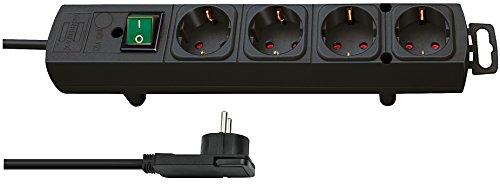 Brennenstuhl Comfort-Line Plus, Steckdosenleiste 4-fach (mit Flachstecker, Schalter, 2m Kabel und extra breite Abstände der Steckdosen) Farbe: schwarz