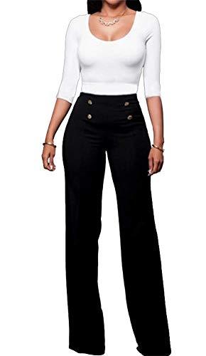 Wide Leg Hohe Taille Hose (Womens Wide Leg Hose Lässige Solid Stretchy Hohe Taille Hosen mit Knöpfen)