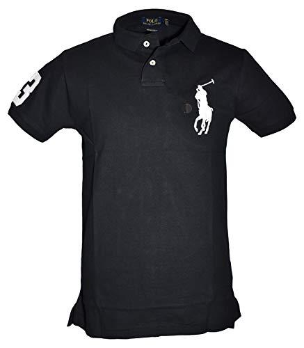 Ralph Lauren Poloshirts Big Pony Custom Slim Fit Polo Piqué schwarz, weiß, blau (XL, Schwarz) -