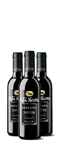 Lote de 24 Botellines Botellas Vino Pata Negra Valdepeñas Gran Reserva 375ml - Vinos Baratos para Detalles de Bodas