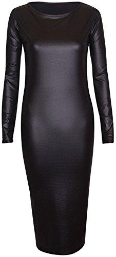 Chocolate Pickle ® Frauen Shinny Wetlook PVC Röcke Ober kleid 44-46 Wetlook Long Sleeve - Long Sleeve Damen Kleid