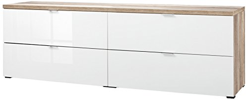 CS Schmalmöbel 45.150.505/040 2x TV-Board Cleo Typ 13, 218 x 50 x 67 cm, wildeiche / weißglas