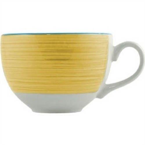 Taza grande color amarillo para cereales en el desayuno