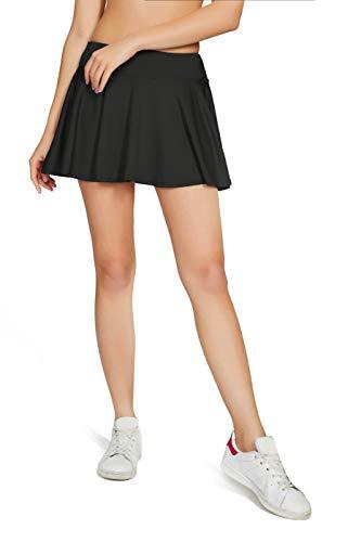 HonourSport Damen Tennisrock Skirt Minirock Sport Fitness Yoga Skort Falten, Schwarz, Gr.- S/EU 36-38 -