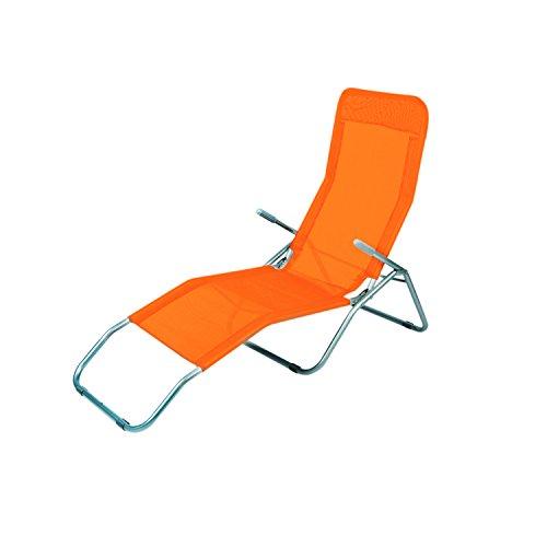Mojawo Siesta Liege Sonnenliege Saunaliege Strandliege Orange Relaxliege Gartenliege Liegestuhl Kippliege