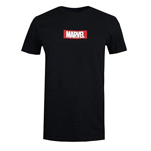 Marvel Box Logo T-Shirt, (Black Blk), M Homme