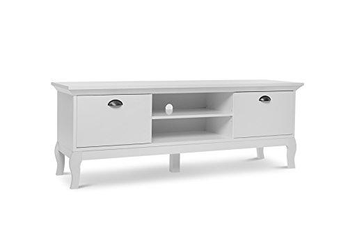 "TV Board - Landhausstil \""Barock\"" (B/H/T: ca. 150 x 55 x 43,5 cm) Metallgriffe & Massivholzfüße, weiss"