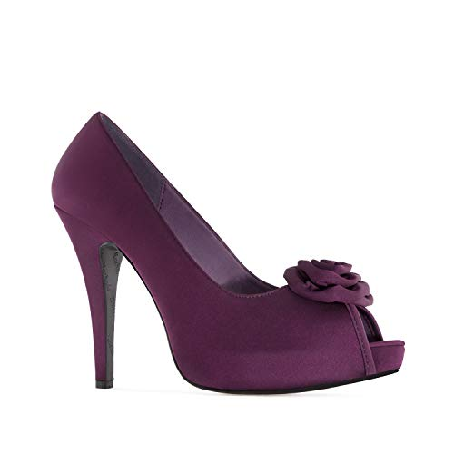 Andres Machado - Satin Peeptoe Pumps in Violett. GR. 41
