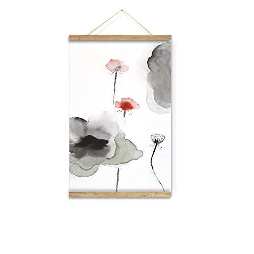 JZGDH Rollenmalerei Lotus Tuschemalerei 40X60Cm DIY Naturholz Foto/Bild/Leinwand Malerei/Für Home Hd Print Dekoration Wandkunst Scrollen - Scrollen Leinwand
