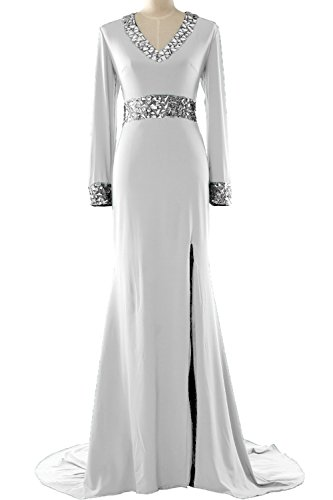 MACloth Women Long Sleeve Mother of the Bride Dress V Neck Formal Evening Gown white