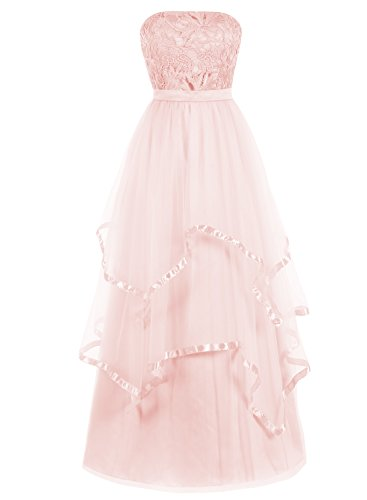Bbonlinedress Lang Tüll Lace Strapless Multi-layer Abendkleid Party Kleider Rosa