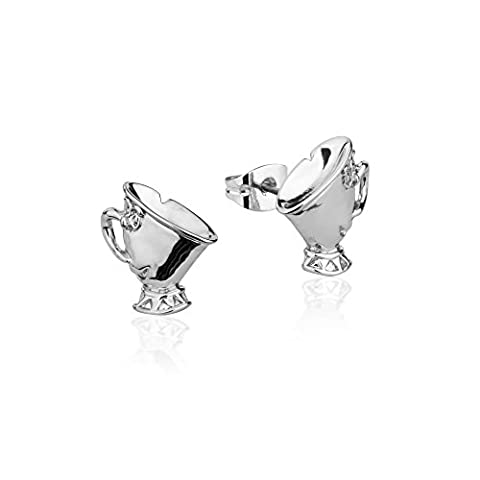 Disney Couture Beauty & the Beast White Gold-Plated Chip Tea Cup Stud Earrings