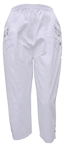 NEW WOMENS LADIES ELASTICATED 3 / 4 SHORTS CAPRI CROPPED TROUSER POCKETS STRETCH PANTS 3 4 Three Quarter (UK XXL 16 - 18, WHITE)