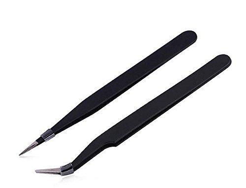 2pcs ESD pinces en acier antistatique professionnel enlever les points noirs Whelk Fat Granule Bend courbe pince extracteur outil noir