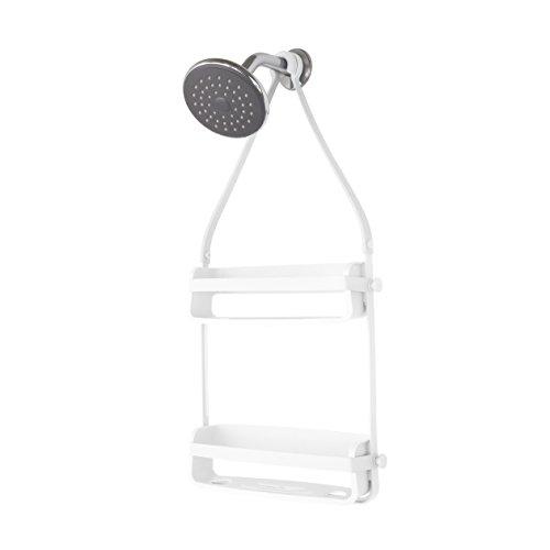 UMBRA Flex Shower Caddy. Caddie de douche Flex. Organiseur de douche à 2 étagères, à suspendre, coloris blanc.