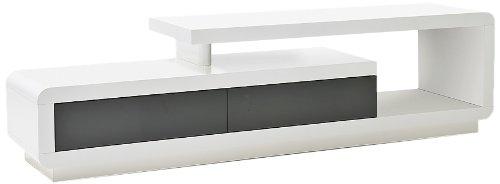 Robas Lund Lowboard, Fernsehtisch, TV-Schrank, Celia, Hochglanz/weiß/grau, 170 x 40 x 45 cm, 59052WG4
