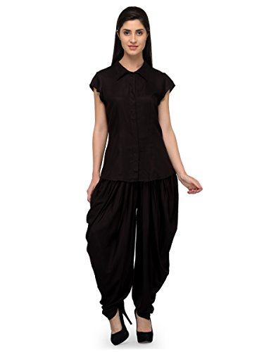 [Sponsored]Shirt Top And Dhoti Ethnic Suits Set For Women – Cap Sleeve, Plackets, Pleated Black Shirt And Black Dhoti Pant...