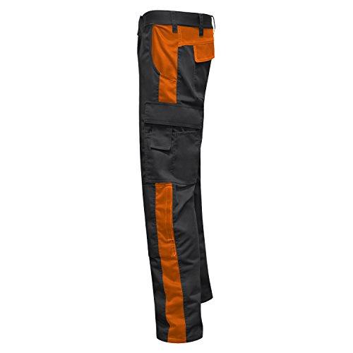Arbeitshose Männer Berlin Pro Bundhose 280 GR. Reißverschluss YKK + Metallknopf YKK - Made in EU - Kermen - Schwarz-Orange 54 - 3