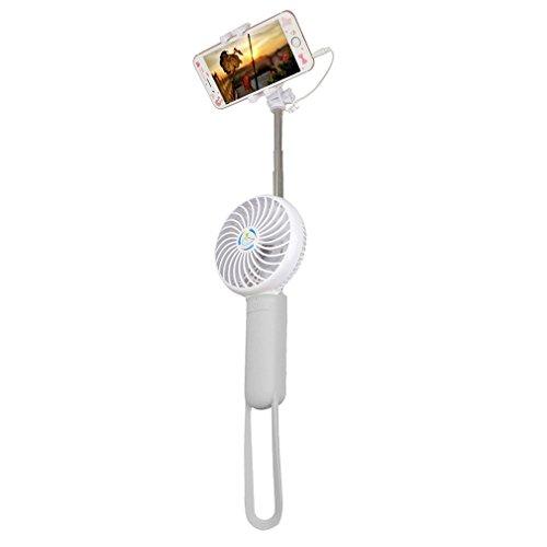 abseed mano ventilatore 3in 1Mini USB Fan con Selfie Stick e mobile Power funzione 3modi LED Lampada e ricaricabile 18650batteria per caldo estivo esterno di viaggio grigio Grau
