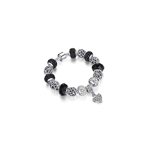 Edelstein Perlen Armband 925 Silver Crystal Charm Bracelet for Women Silver Snake Chain & Murano Glass Black Beads Bracelet Authentic Jewelry PS3604 17cm (Authentic-black Opal Schmuck)