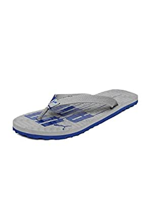 Puma Men's Miami 5 Ind Limestone Grey and Monaco Blue Flip-Flops and House Slippers - 9 UK/India (43 EU)