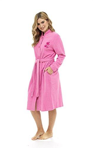 Lussuosa vestaglia in rilievo rosa soffice zip attraverso accappatoio termoattivo soft touch rosa