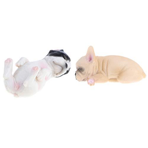 Fenteer 2X Mini Französische Bulldogge Figur für Wohnkultur Sammeln und Geschenk -