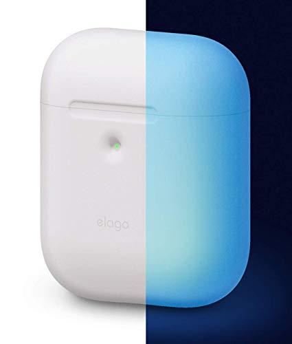 elago A2 Silikonhülle kompatibel mit Apple AirPods 2 Wireless Hülle (LED an der Frontseite sichtbar) - [Unterstützt kabelloses Laden] [Extra Protection] (ohne Karabiner, Nachtglühen Blau)