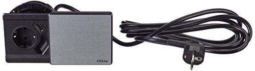 Schulte 1592 7000 3300 EVOline Square 80 Schuko mit USB-Charger Edelstahl 3300 Usb
