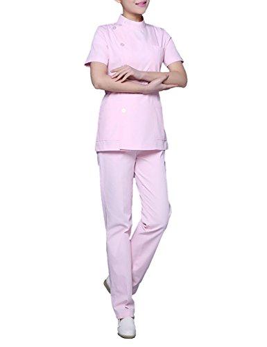 THEE Damen Schlupfkasack Schlupfjacke+Schlupfhose Set Medizin Krankenschwester Frauen Uniform Berufskleidung Kasack Bekleidung Labor - Rosa Krankenschwester Kostüm
